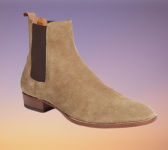 Handmade Men Chelsea Beige High Ankle Boots image 4