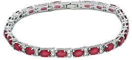 HERMOSA Classic Ladies Silver Bracelet Ruby White Topaz 7 Inches Tennis ... - $69.13