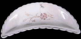 Porcelain Bone Dish Pink Blue Flowers Crescent Scalloped Edge Decor Vintage - $24.47