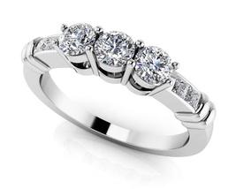 0.45 Ct Princess Cut Sim Three-Stone Engagement Band Ring In 14K White G... - $125.00
