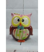 """HOOT Ceramic OWL Money Coin Piggy BANK, White with Pink, 7"""" ~CUTE~  - $18.69"""