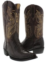 Mens El Presidente Brown Real Ostrich Leg Skin Leather Cowboy Boots J Toe - €166,01 EUR