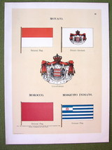 FLAGS MONACO Mosquito Indians Morocco Naval Marine - 1899 Color Antique ... - $9.79