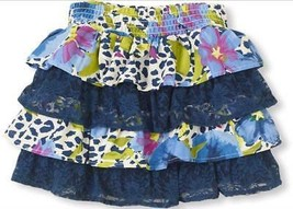 * The Children's Place blue floral print and lace tiered skirt size medi... - $5.94