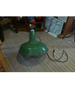Vtg 18 in Industrial Green Porcelain Lamp Gas Station / Barn  w/ cage Wo... - $272.25