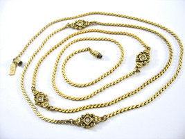 Rhinestone Gold Chain Necklace, 1928 Hang Tag, Made in USA, Long, Barrel... - $22.00