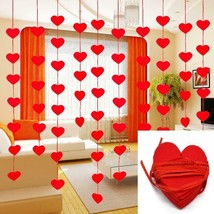 5sets(80pcs) 2 Size Heart Garland With 3m Rope Charm Diy Curtain Felt Ho... - $4.15+