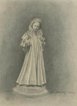 C. Halsey - 1901 Graphite Drawing, Young Girl with Dogs - $38.76