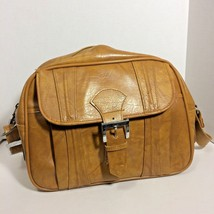 American Tourister Brown Faux Leather Shoulder Bag Vintage 70s A Logo No Key - $15.99