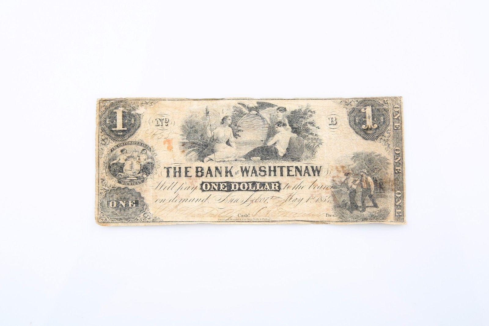 1854 una Dólar The Bank Of Washtenaw Billete