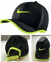 NEW! Nike Mens Vapor Classic 99 Dri-Fit Training Adjustable Hat-Black/Volt - $49.38
