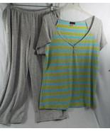 Women's Sleepwear Lounge S/S Shirt & Capri Pants Aqua Grey Lime in Large L - $30.83