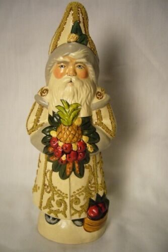Vaillancourt Folk Art Colonial Santa  Pineapple White