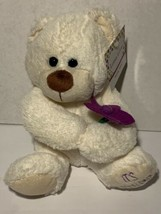 "Goffa Birthday Bear ""It's your day"" Plush White Purple Flower Lotsa Love... - $24.99"