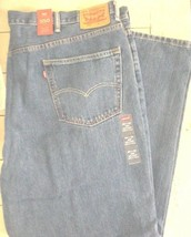 Men's LEVI 550 Relaxed Fit Tapered Leg Blue Denim Jeans 50 x 32 Big & Tall - $35.27