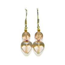 """1/2"""" Pink Glass/Heart Bead 14k Gold Drop Earrings - $14.99"""
