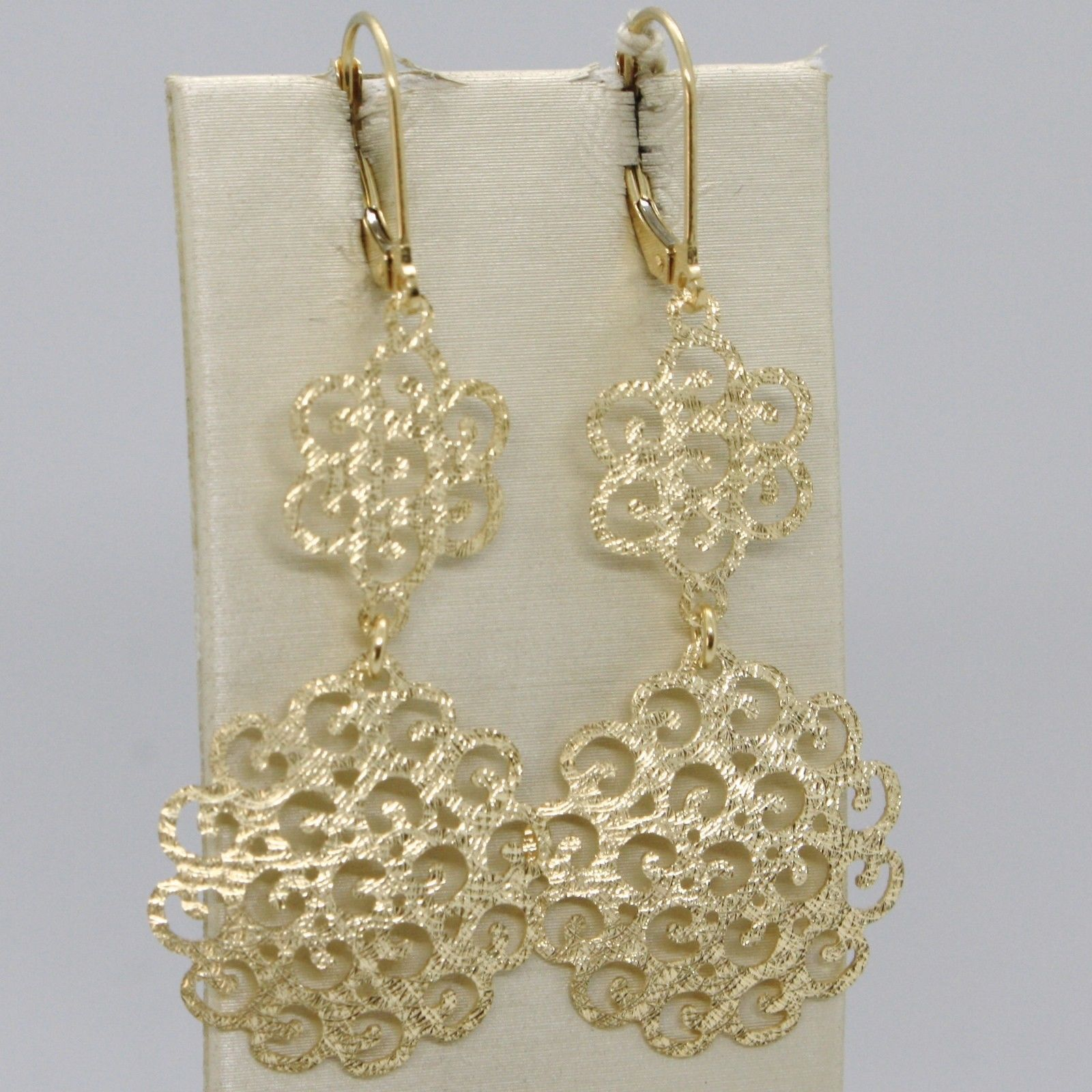 YELLOW GOLD EARRINGS 18K 750 HANGING FLOWERS PROCESSED AND PERFORATED