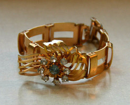 Vintage gold tone cuff bracelet blue rhinestone floral flower cuff brace... - $19.79