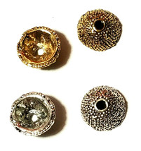 6pcs. Granulated Round Fine Pewter Bead Caps  8x8x4mm