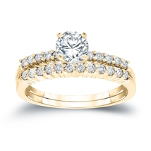 14K Yellow Gold Finish 1/2Ct Round Cut D/VVS1 Diamond Engagement Bridal ... - $112.99