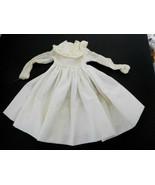 Vintage White Cotton Long Sleeve Dress for Medium Size Doll - $24.99