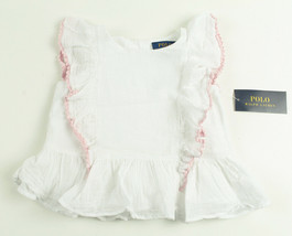 POLO RALPH LAUREN NEW KIDS TODDLER GIRLS WHITE COTTON RUFFLED TUNIC DRES... - $19.79