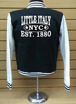 Little Italy Nyc Letterman Varsity Baseball BLACK/WHITE Fleece Jacket - $29.69