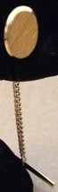 Vintage 1950s Textured Gold Plated Oval Chain Bar Clutch Back Mens Tie S... - $38.98