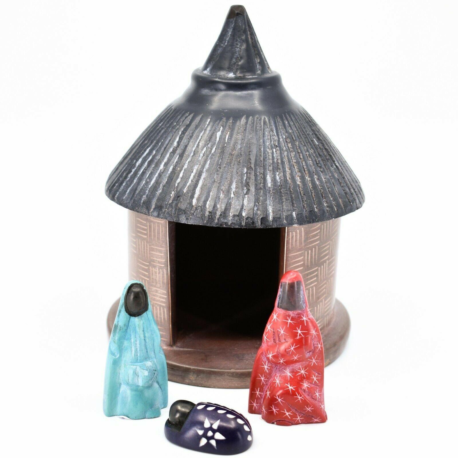 Vaneal Group Hand Carved Kisii Soapstone Nativity Set w Hut Manger Made in Kenya