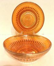 "Peach Marigold Iridescent Carnival Glass Lot 2 Bowls Diamond Vtg 1-3/4"" ... - $13.99"