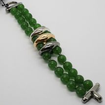 GREEN JADE 925 STERLING YELLOW BURNISHED SILVER BRACELET, STRAND, TWO WIRES image 3