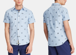 $110  Polo Ralph Lauren Men's Classic-Fit Print Oxford Shirt, Blue, 2XL - $45.73