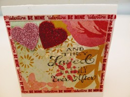 red and pink handmade blank lovers greeting card - $3.00