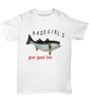 Funny Bass Girls Tee Shirt White XL - $21.04