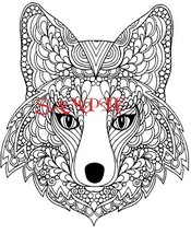 Tribal Fox Head Single Colour PDF Cross Stitch Chart - $8.00
