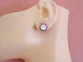 ANTIQUE ART DECO BIG 4.46ctw EURO DIAMOND RUBY HALO STATEMENT STUD EARRI... - $36,035.99