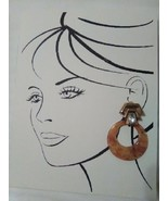 VINTAGE CLIP GOLDEN EARRINGS HOLD LARGE SPECTACULAR FAUX AMBER HOOPS - $35.00