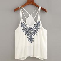 Hot Sale Fashion Women Summer Embroidered Tank Tops Sleeveless Casual Blouse T-S