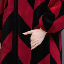 Luxury Long Red And Black V Neck Chevron Design Lamb Shearling Sheepskin Coat image 7