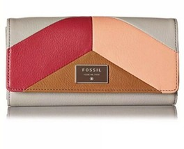 NWT~ FOSSIL DAWSON PINK MULTIFUNCTION LEATHER BI-FOLD FLAP CLUTCH WALLET - $64.35