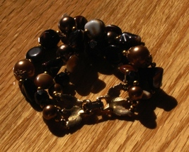 Vintage crown trifari autumn amber bronze art glass triple strand bracelet5 thumb200