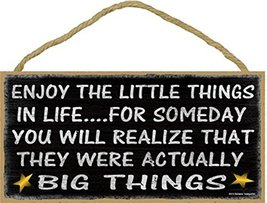 """Black Stars Enjoy The Little They Were Actually The Big Things Sign 5""""x10"""" - $12.86"""