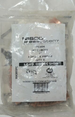 Nibco Press System PC606 45 Elbow One Inch Leak Detection 9043000PC Pk of 5