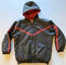 Vintage Boy's Nike Sportswear Black Red Winter Coat With Hood Kid's Size... - $19.79