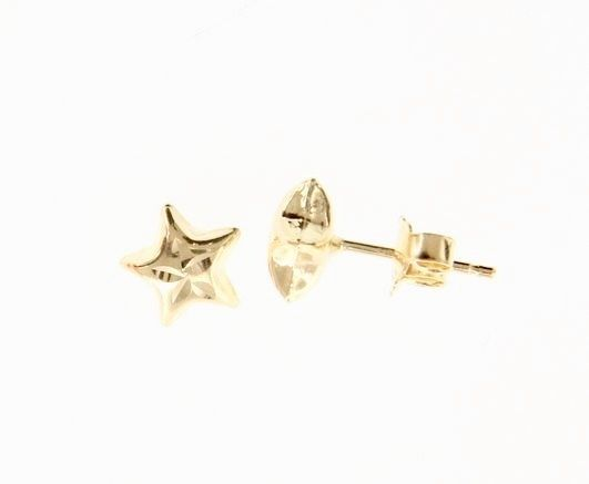 18K YELLOW GOLD EARRINGS WITH VERY SHINY STAR WORKED MADE IN ITALY 0.28 INCHES