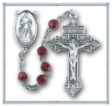 Sterling Silver Divine Mercy Rosary made with Garnet Swarovski Crystals - $161.12