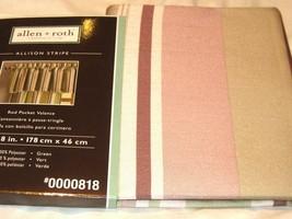 Allen Roth Allison Stripe Valance Rod Pocket Green Tan Beige 70 x 18L New - $21.58