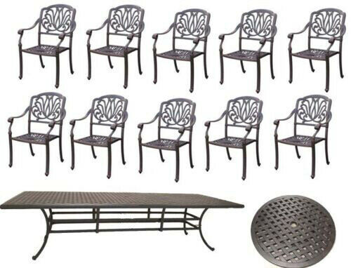 14 piece cast aluminum dining set outdoor patio furniture table and chairs