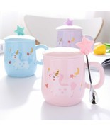 Cartoon Unicorn Coffee Mug With Lid And 3D Star Spoon Pink Coffee Milk T... - $23.52
