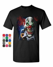 Creepy Joker Clown T-Shirt Nightmare Scary Mean Killer Halloween Mens Te... - $14.99+